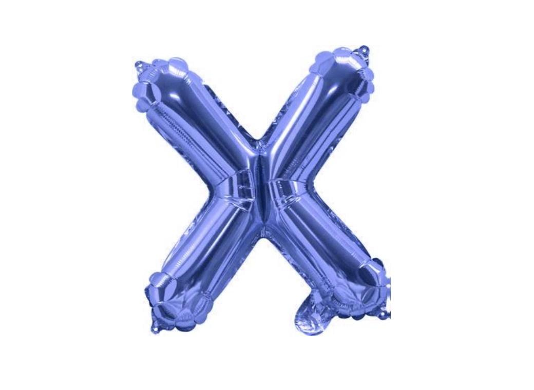Mini Blue Foil Balloon - Letter X
