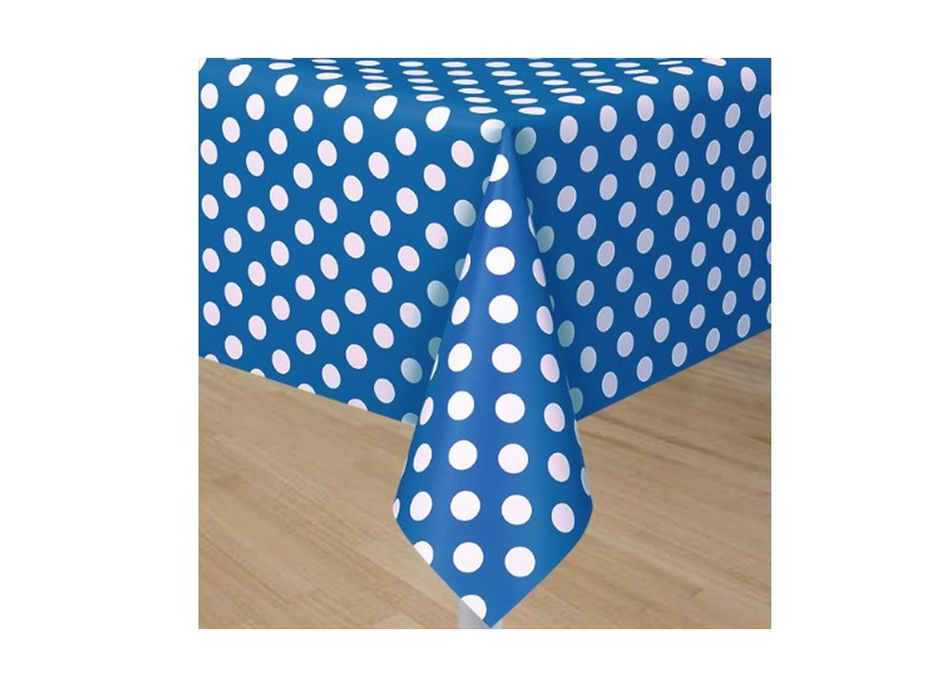 Blue Polka Dot Plastic Table Cover