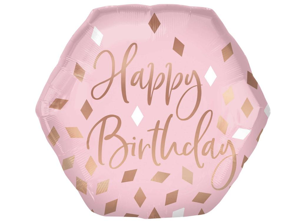 Blush Pink & Rose Gold Hexagon Foil Balloon