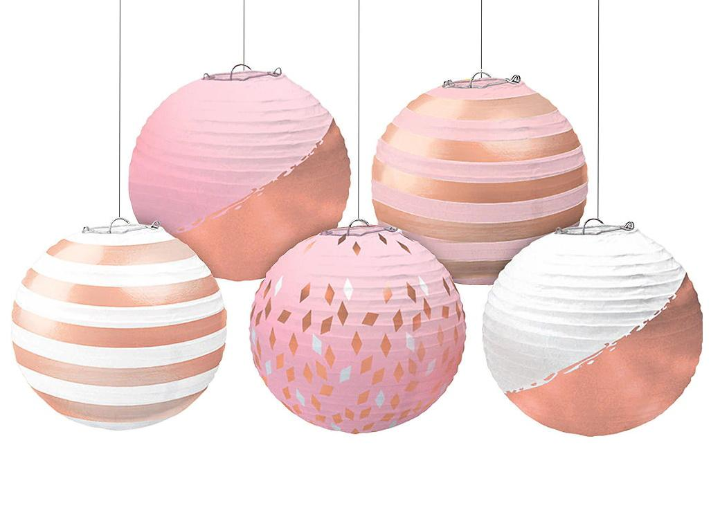 Blush Pink & Rose Gold Mini Paper Lanterns 5pk