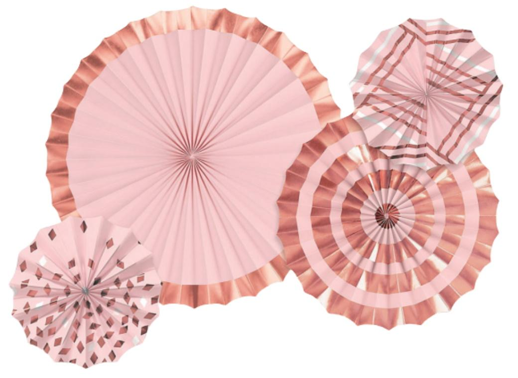 Blush Pink & Rose Gold Paper Fans 4pk