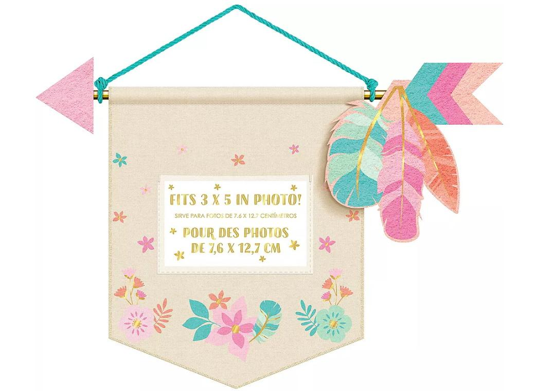 Boho Girl Canvas Banner with Photo Holder