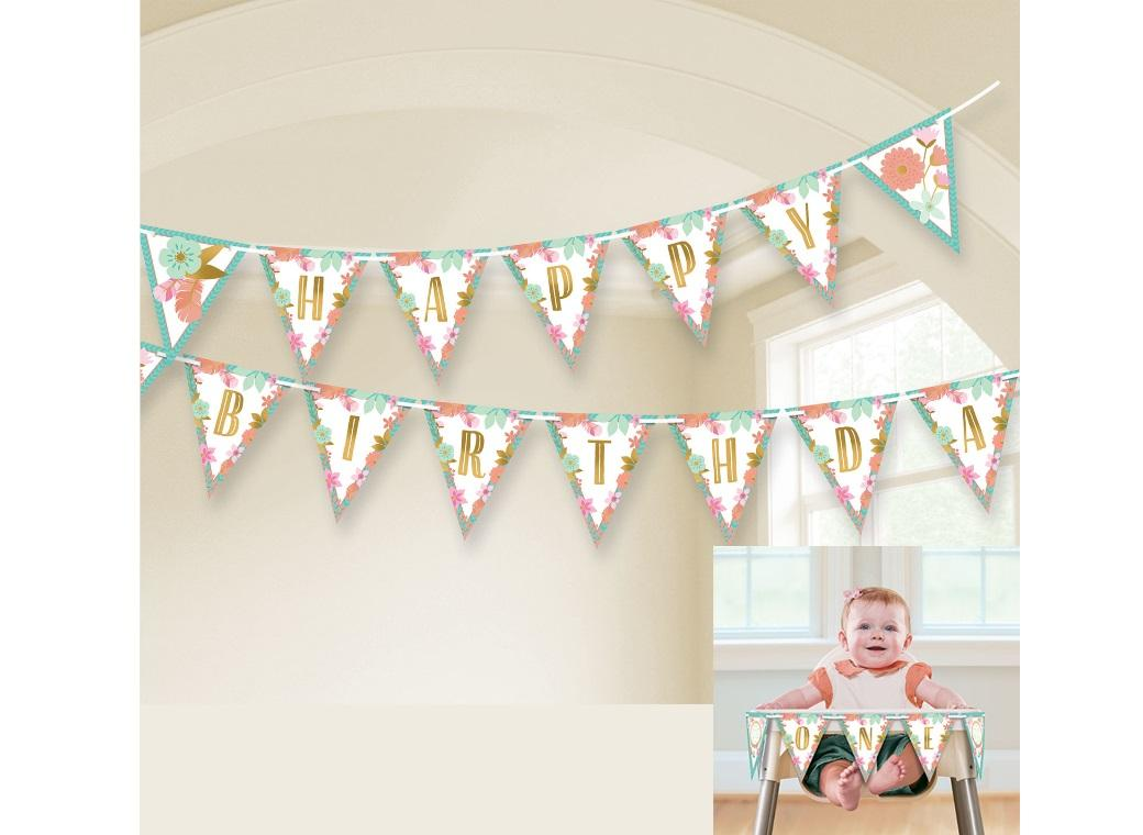 Boho Girl Happy Birthday Pennant Banner