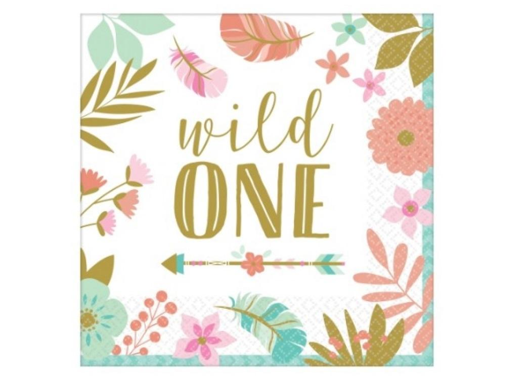 Boho Girl Wild One Lunch Napkins 16pk
