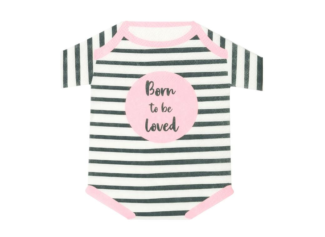 Born To Be Loved Pink Romper Napkins 16pk