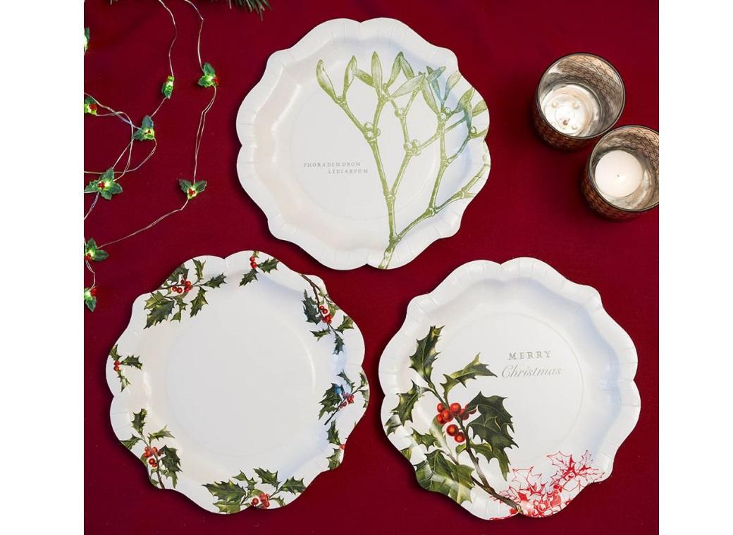 Botanical Christmas Plates 12pk