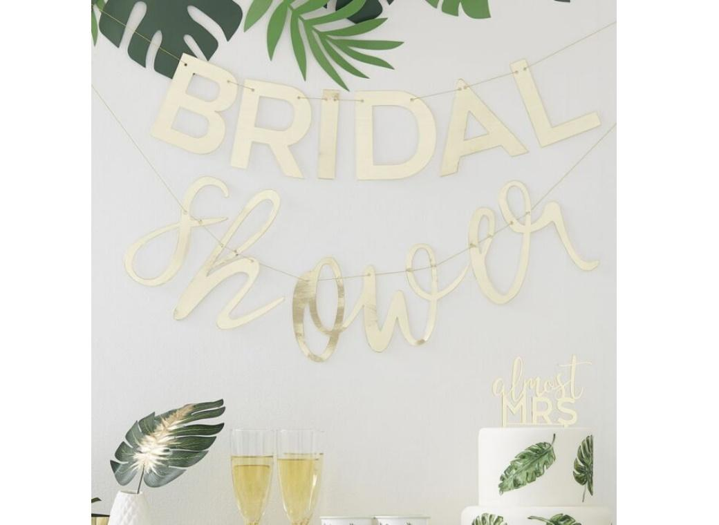 Botanical Hen Gold Bridal Shower Banner