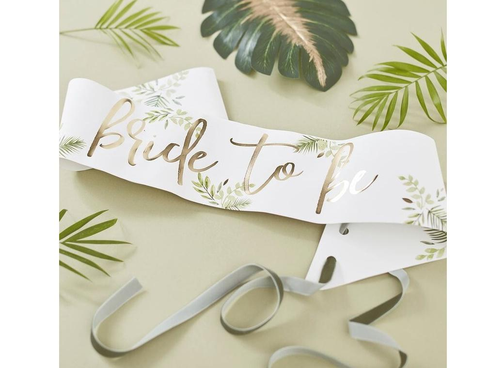 Botanical Hen Gold Bride To Be Sash