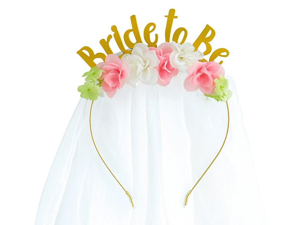 Bride to Be Floral Headband with Veil