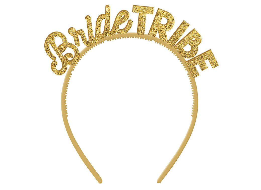 Bride Tribe Gold Glitter Headbands 6pk