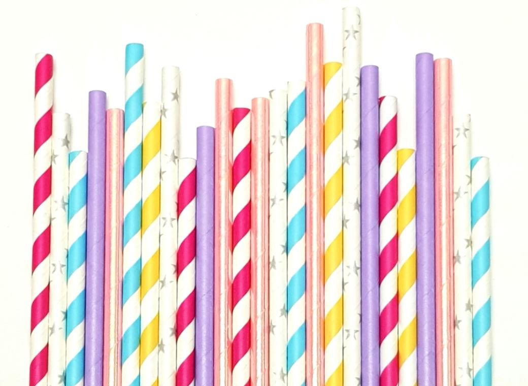 Paper Straws Mix 25pk - Bubblegum
