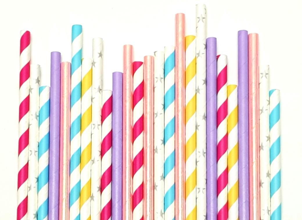 Paper Straws Mix 25pk - Bubblegum