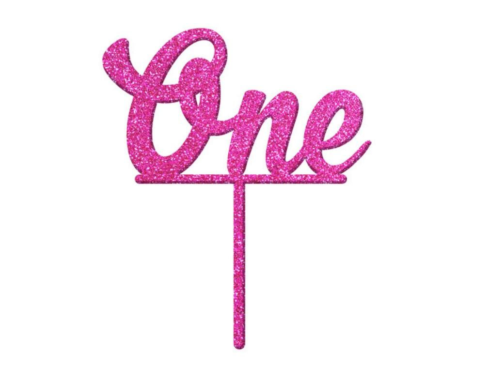 One Cake Topper - Pink Glitter