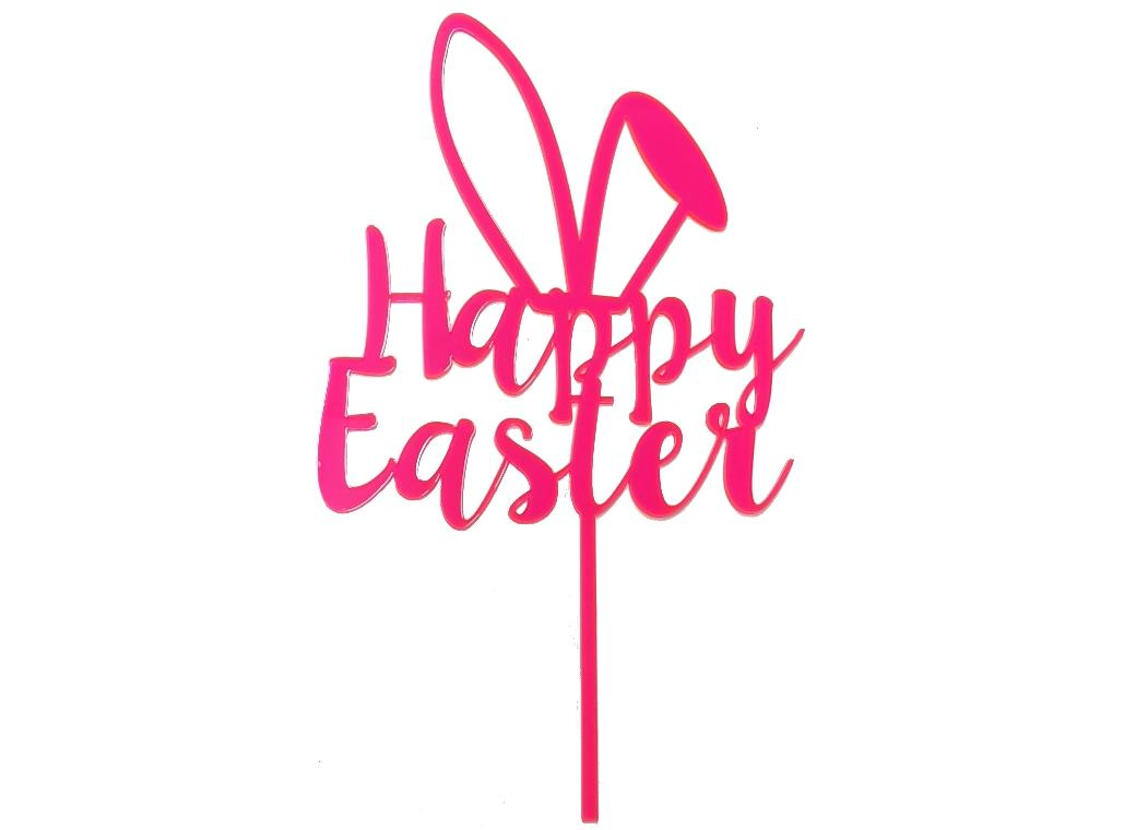 Happy Easter Cake Topper - Pink