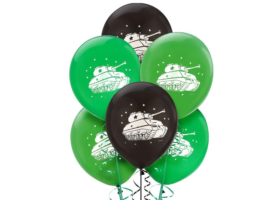 Camouflage Balloons Army Tanks 6pk