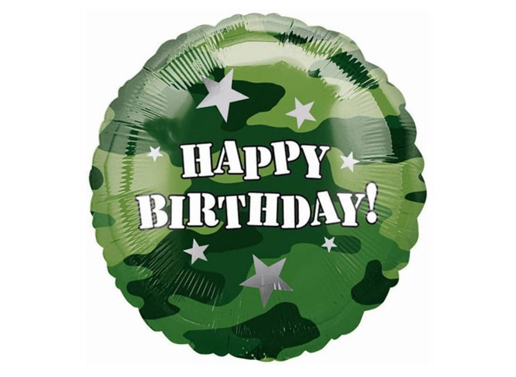 Camouflage Happy Birthday Foil Balloon