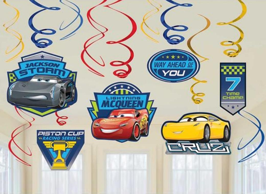 Cars 3 Hanging Swirl Decorations