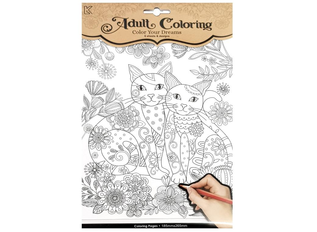 Cats Colouring Pages 6pce