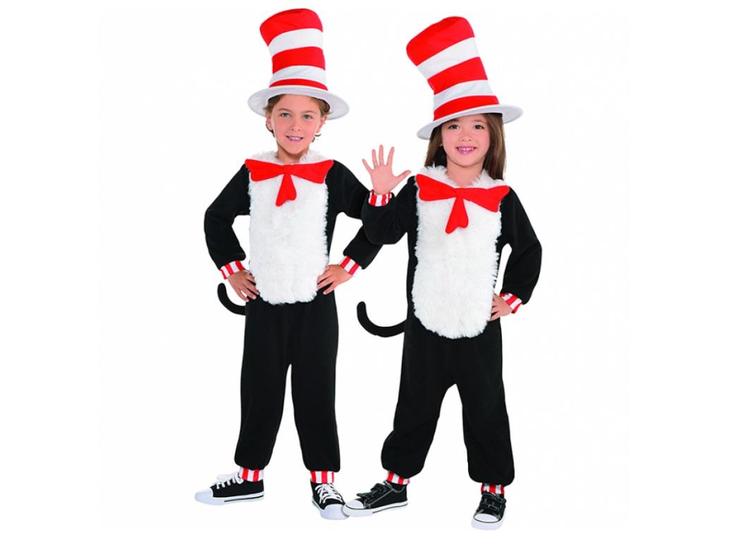Cat in the Hat Jumpsuit Costume Small
