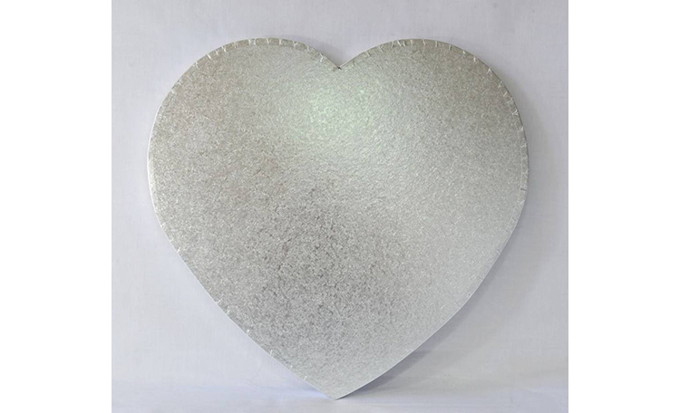 "Cake Board 14mm - 12"" Heart Silver"