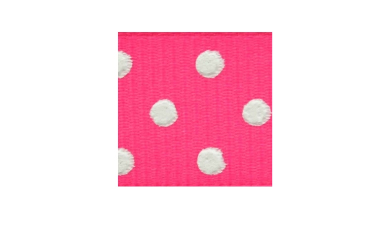 Grosgrain Ribbon Spots - Cerise & White
