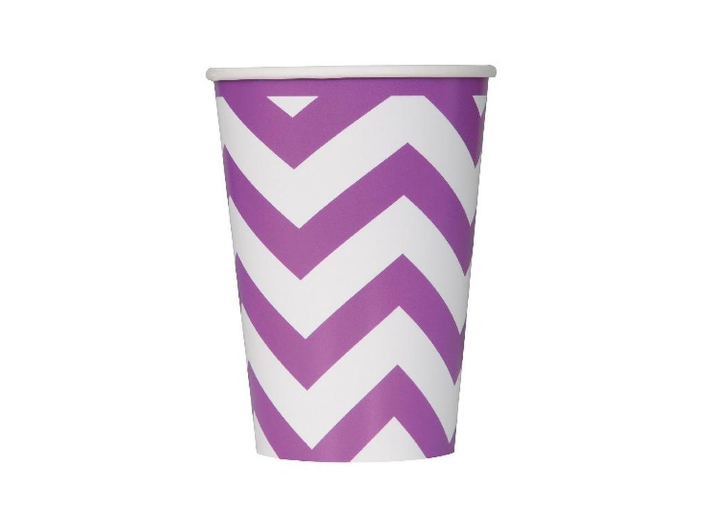 Chevron Cups Purple - 6pk