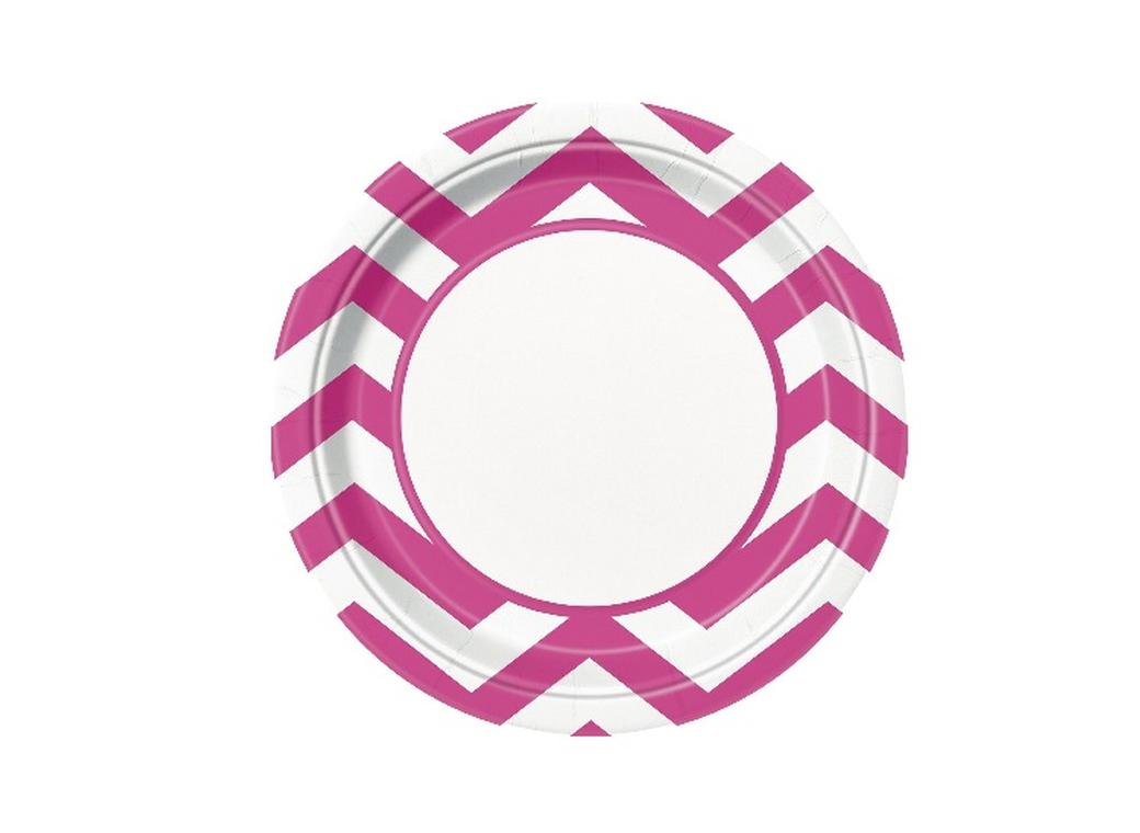 Chevron Dinner Plates Hot Pink - 8pk