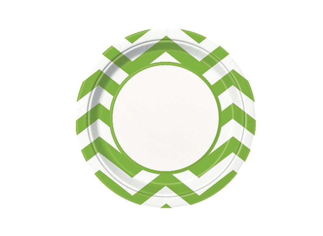 Chevron Dinner Plates Lime Green - 8pk