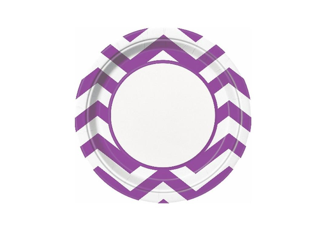Chevron Dinner Plates Purple - 8pk