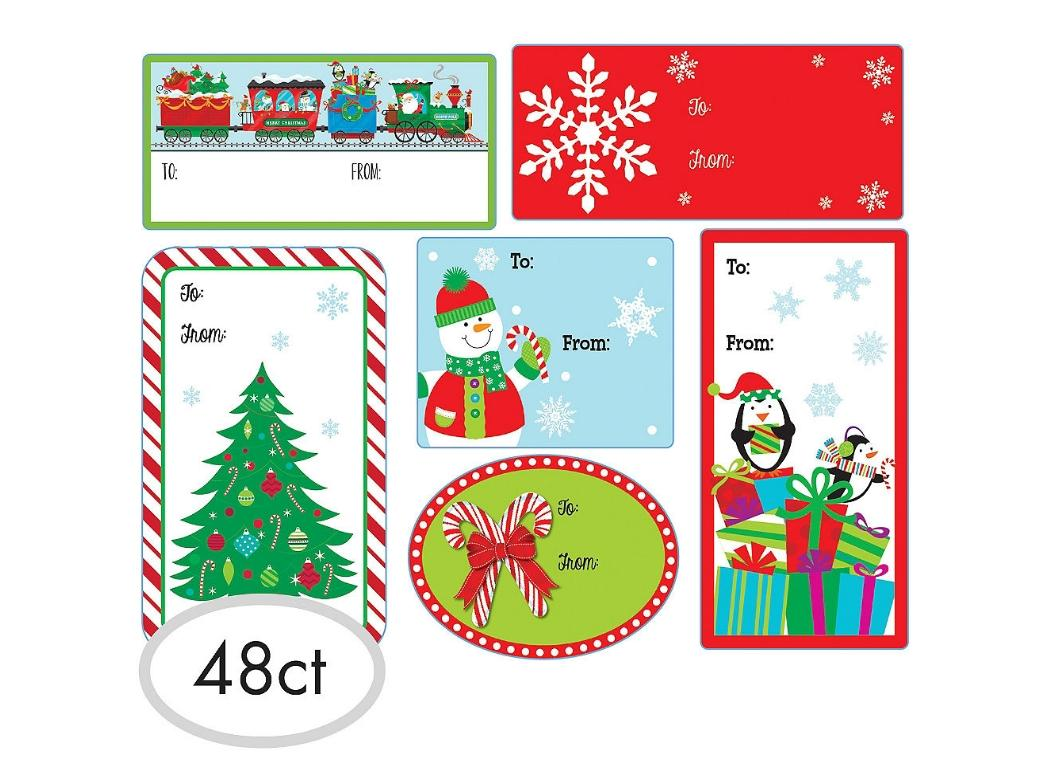 Christmas Adhesive Gift Labels 48pk