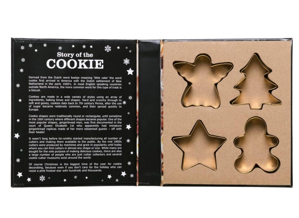Christmas Gold Cookie Cutter Set 4pce
