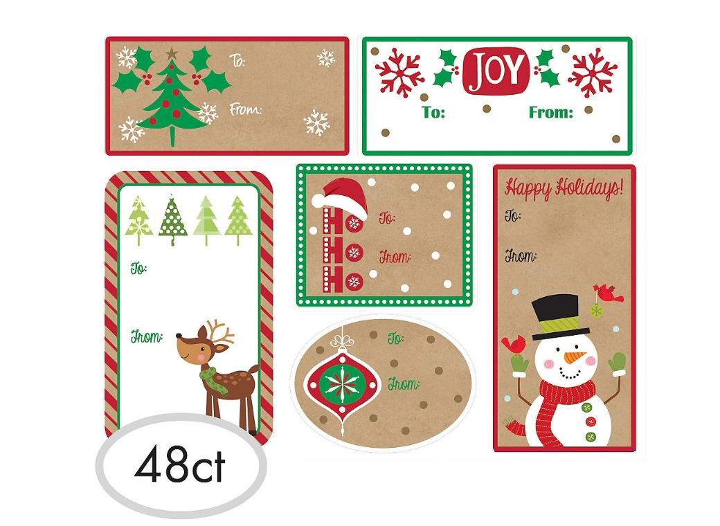 Christmas Adhesive Kraft Gift Labels 48pk