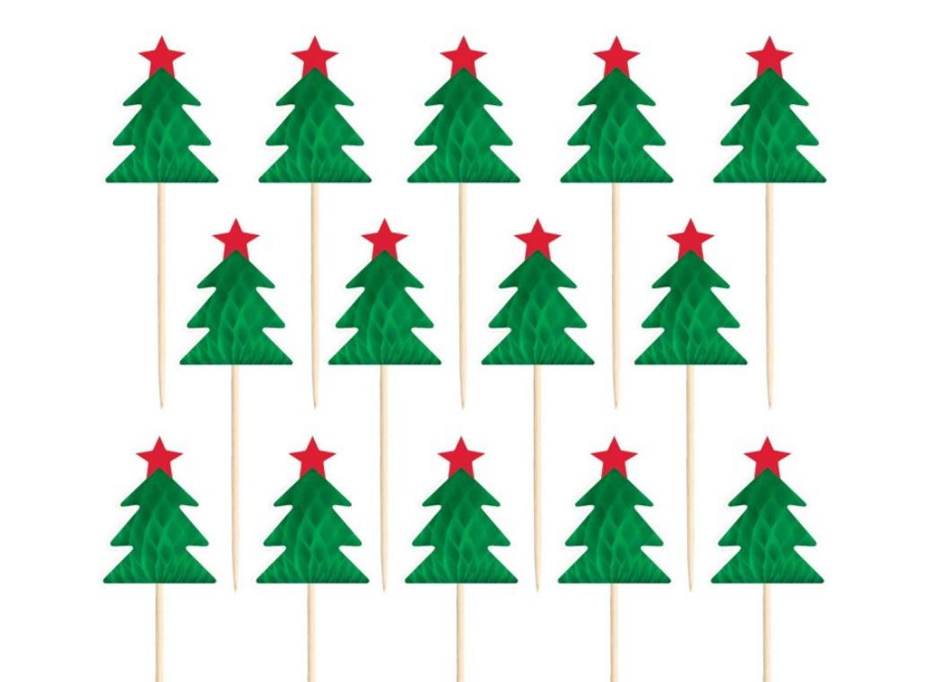 Christmas Tree Honeycomb Party Picks 12pk