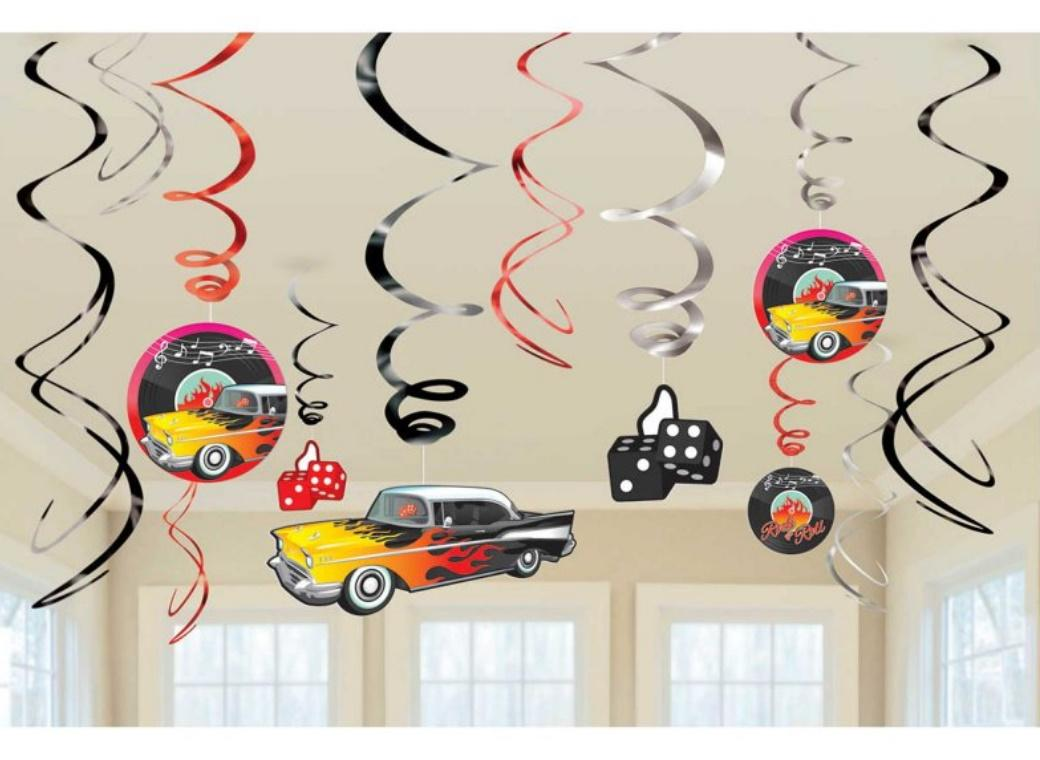 Classic 50's Hanging Swirl Decorations