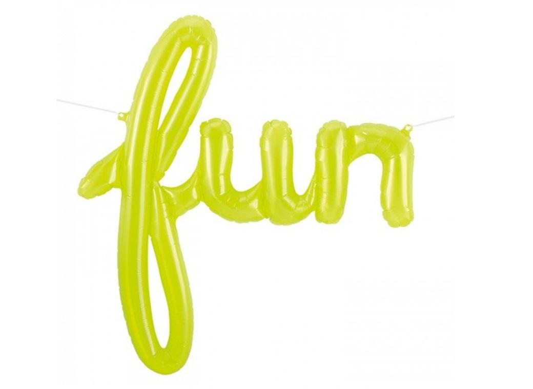See-thru Lime Green 'Fun' Script Balloon
