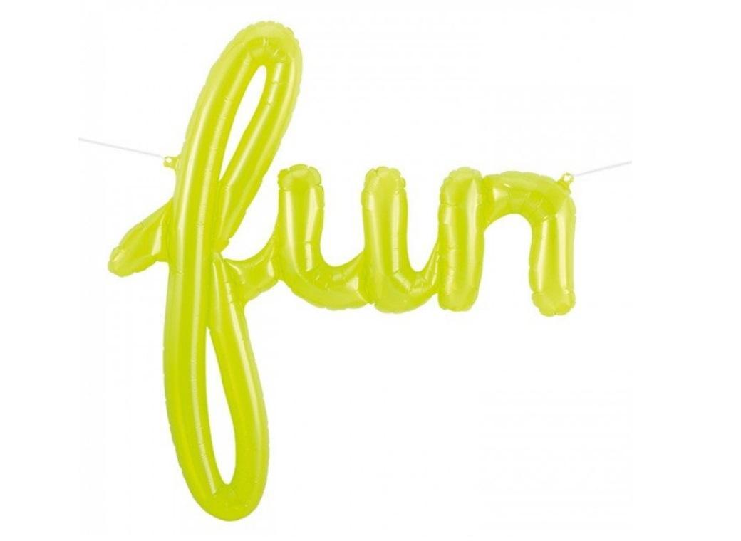 See-thru Lime Green 'Fun' Script Balloon