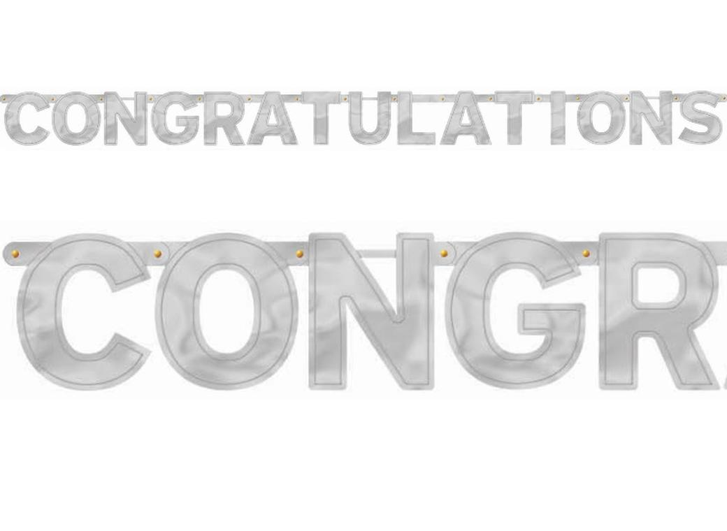"""Congratulations"" Silver Letter Banner"
