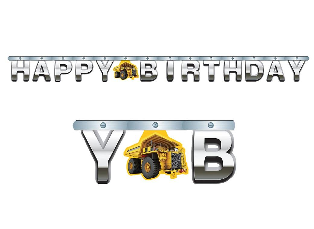 Construction Birthday Zone Foil Banner