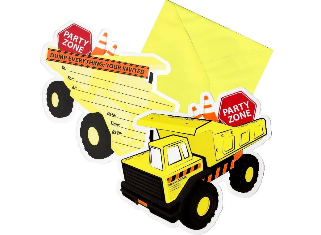 Construction Party Invites 8pk