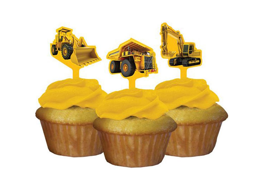 Construction Birthday Zone Cupcake Toppers