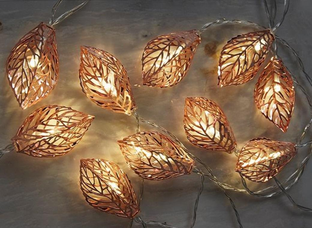 Copper Fairy Lights - Leaves