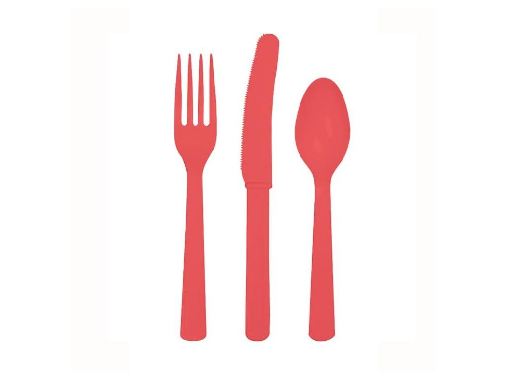 Coral Plastic Cutlery - 24pk