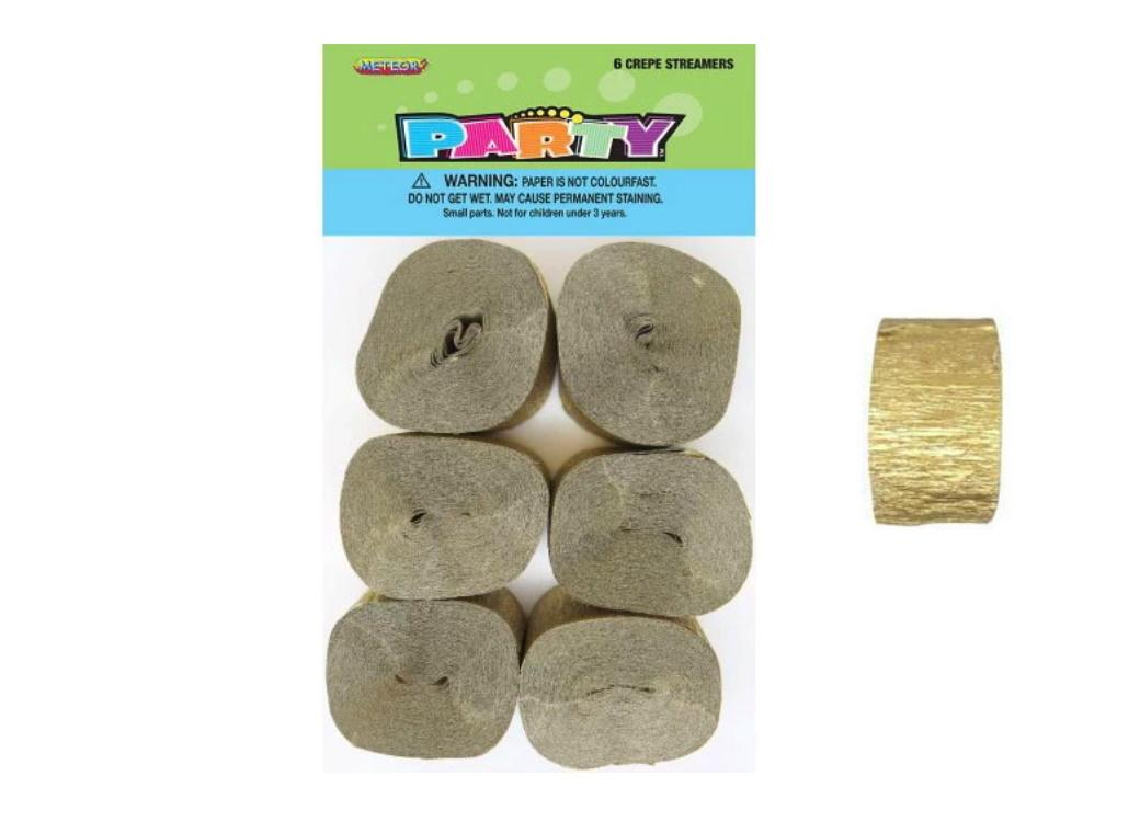 Crepe Paper Streamers 6pk - Gold