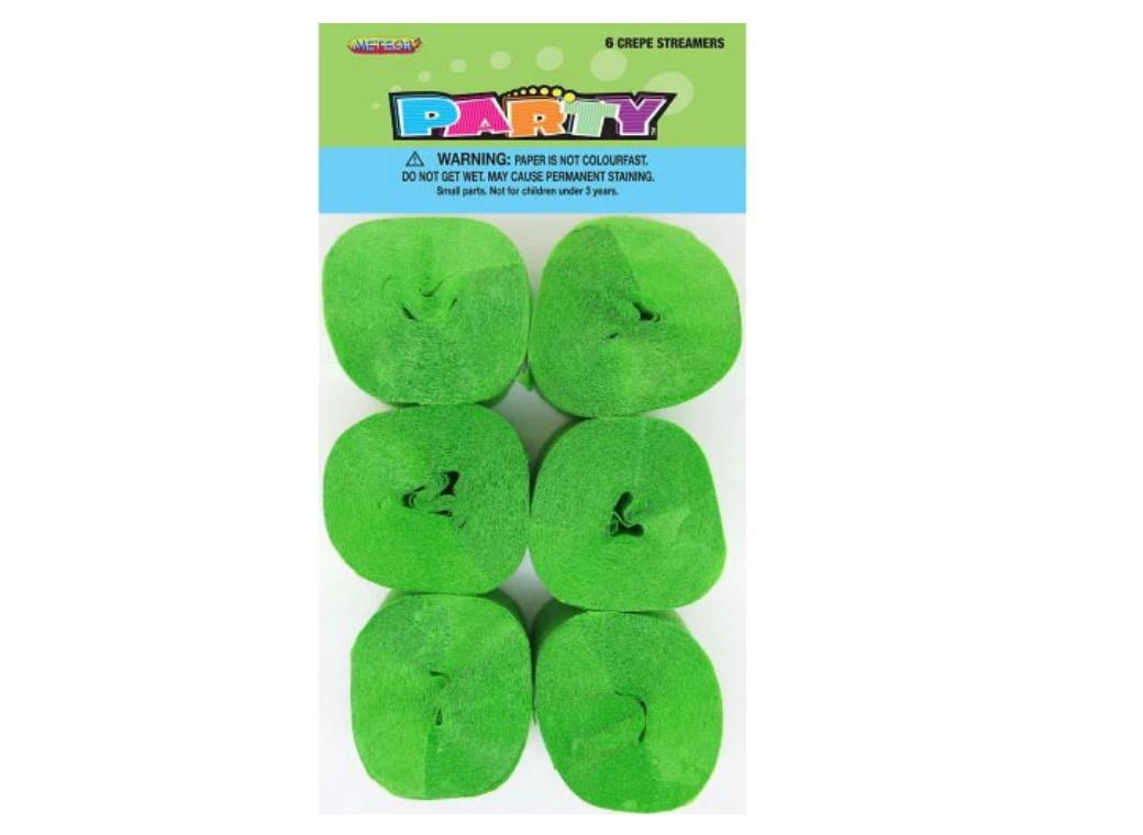 Crepe Paper Streamers 6pk - Lime