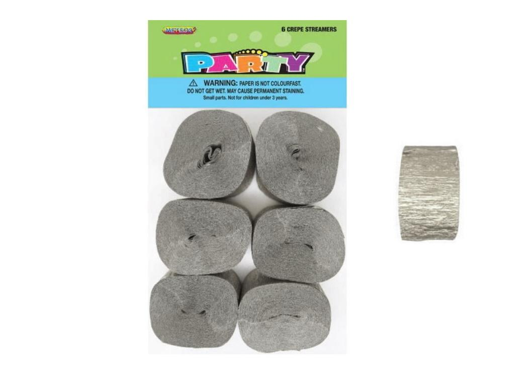 Crepe Paper Streamers 6pk - Silver