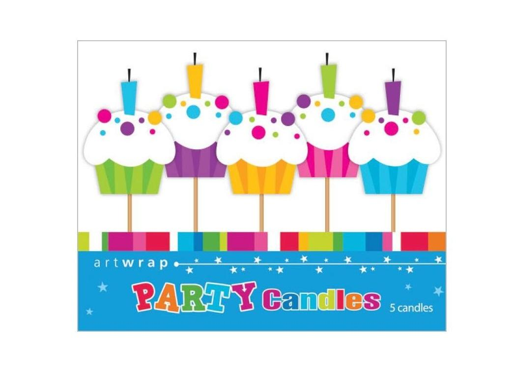 Party Candles - Colourful Cupcakes