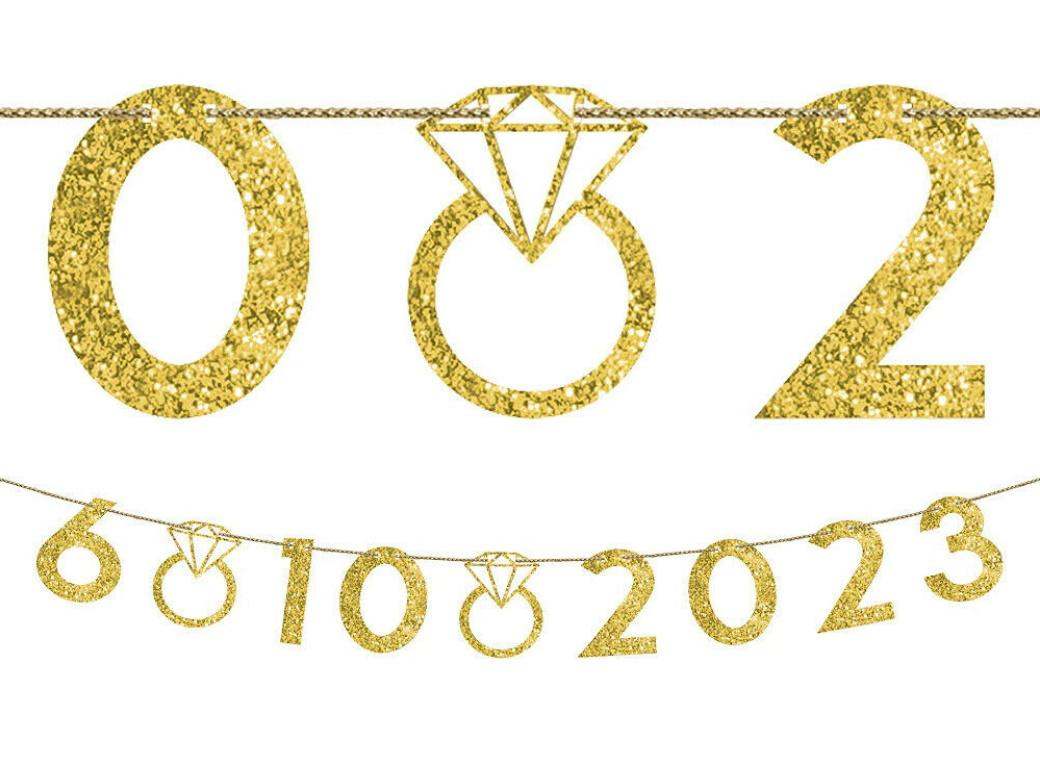 Customisable Gold Glitter Wedding Date Banner