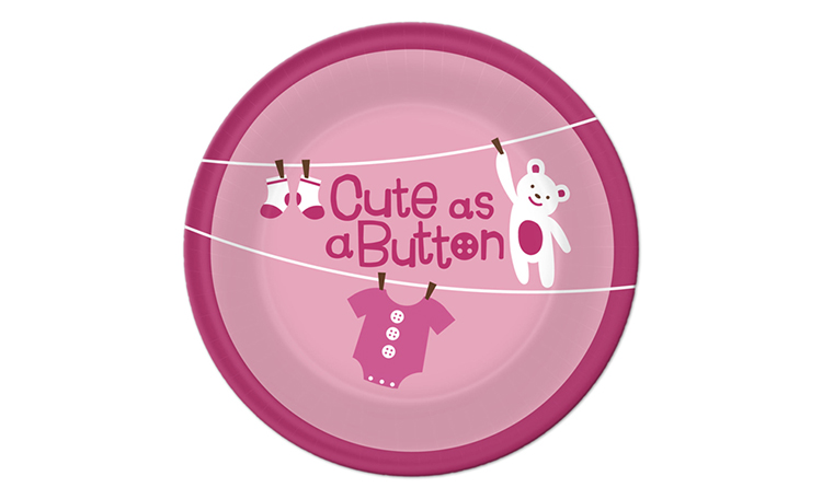Cute As A Button Girl - Dessert Plates 8pk