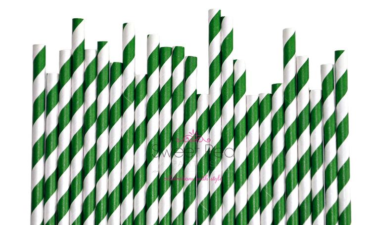 Dark Green Paper Straws