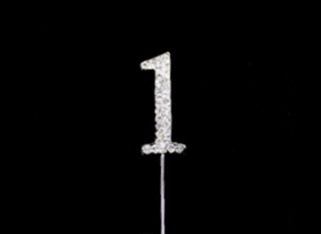 Diamante Cake Topper Small - Number 1